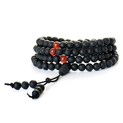 Boclay Buddhistische Gebetskette Tibetische Japa Mala Kette Halskette 108 Perlen Yoga Armband aus 6mm Bian Stein Chakra Schmuck für Meditation