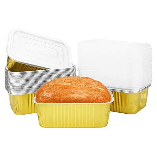 Beasea Mini-Kastenformen, Einweg, 15,2 x 10,2 cm, Aluminiumfolie, Kastenform mit Deckel, goldene Mini-Brotpfannen, Brotbackformen zum Backen
