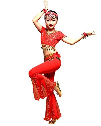 Grouptap Bollywood Indianer Mädchen Stammes-Spitze Fischschwanz Bauchtanz Top Hosen Kleid rot arabische Kinder Kinder Bauchtanz Schlitze Hosen Kostüm (Rot, 100-120 cm)
