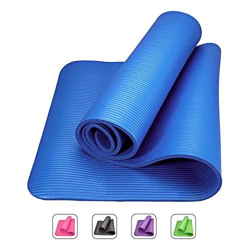 ROMIX Tappetino Yoga Antiscivolo Premium, 15 mm Ecocompatibile Tappeto Esercizi Fitness per Casa e in Viaggio, Alto Spessore e Densità Memory Foam, Non Tossico Tappetini Palestra - Blu