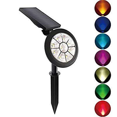 Starsprairie Solar Lights Outdoor Spotlight Changing Color Waterproof 7 LED Adjustable 4th Gen Auto On/Off Outdoor Landscape Light for Yard Pool Garden Garage Driveway Deck