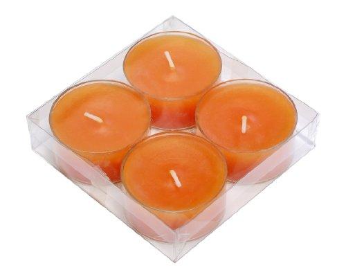 Teelichter 4 farbige Maxi transparenter Plastikhülle, durchgefärbt (Mandarin/Orange)