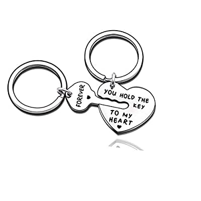 Couples Jewelry Accessories Silver Key Chains Rings Keychain Valentines Gifts for Husband Wife Boyfriend Girlfriend (4)
