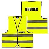 Warnweste Gelb Orange, beidseitig bedruckt auf Brust und Rücken mit Ordner, Security große Auswahl Motive Aufdrucke 022 Ordner (Gelb) XL