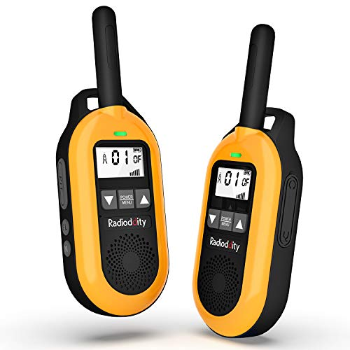 Radioddity FS-T2 Rechargeable Walkie Talkies for Adults Long Range Two Way Radio, 22 Channels with VOX, NOAA, USB Charging, Earpiece with Mic, Mini FRS Radio 2 Pack