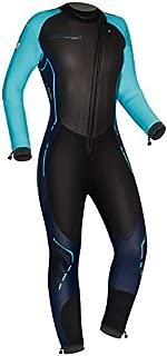 Camaro Women's Alpha 7 Pro Wetsuits, Black/Turquoise, Large