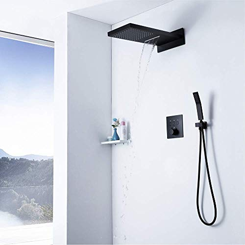 GENFALIN La ducha termostática montada en pared Sistema de ducha de techo Sistema de montaje Conjunto de ducha de baño Conjunto de ducha de lluvia y de mano Conjunto de Conjunto