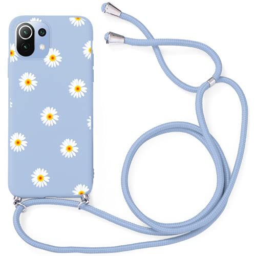 Yoedge Funda con Cuerda para Xiaomi Mi 11 Lite-6.55', Funda de Silicona Antideslizante Suave TPU para Teléfono Móvil con Colgante Ajustable Collar Correa para el Cuello Cadena Cuerda, Margarita