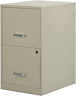 Staples 2806662 2-Drawer Vertical File Cabinet Locking Letter Putty/Beige 18-Inch D