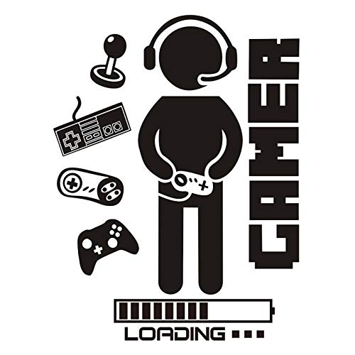 Gaming Room Decor Boys Bedroom Wall Decals Stickers Video Game Loading Controller Vinyl Playroom Teen Large Cool Decoration Poster Gifts
