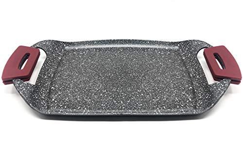 MGE - Plancha Grill - Asadora - Efecto Piedra - Revestimiento Antiadherente - Asas Silicona Extraíble - 36 x 22 cm