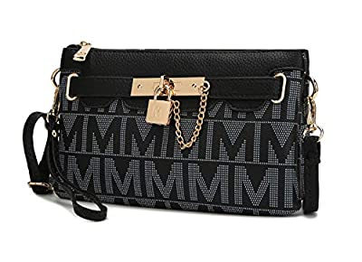Mia K Collection Crossbody for Women Wristlet Purse – Shoulder Strap – PU Leather Handbag Small Messenger Side Bag Black