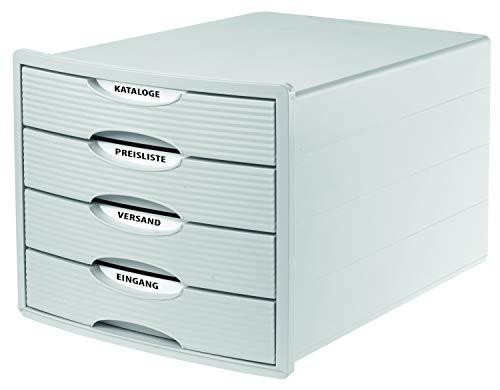 HAN Cajonera MONITOR – Diseño innovador y atractivo de la más alta calidad, con 4 cajones cerrados para DIN A4/C4, caja de almacenamiento disponible exclusivamente en Amazon, color blanco, 1001-12