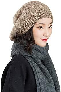 Women's Autumn Winter Innocent Cap Hat Wool Lining Warm Knit Skull Lazy Innocent Cap Hat Ski Hat Hat Hand Knit Wide Yarn Cap (Color : Brown)