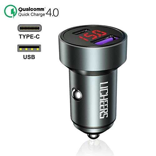 FEIGO Autoladegerät, USB Type-C KFZ Autoadapter PD 3.0, Autoadapter mit QC 4.0 (36W) 2-Port mit LED Digital Voltmeter, Kompatibel mit Phone XS, Samsung AFC Quick Charge, Huawei SCP, FCP Quick Charge