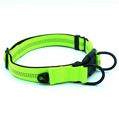 Collar de mascota, ajustable doble anillo en D reflectante Nylon Pet Collar Cinturón para perro mediano y grande - verde fluorescente