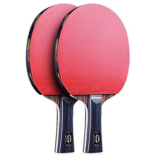 Lerten Raquetas de Tenis de Mesa,Bate de Tenis de Mesa Profesional Avanzada Juego de 6 Estrellas Mango CóModo,para Interior Y Exterior Escuela en Casa/A/mango largo