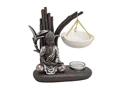 G.W. Buda de esencias Poly/cerámica en estilo zen garden, dura, tamaño: longitud x profundidad x altura = 19x 8x 20cm,