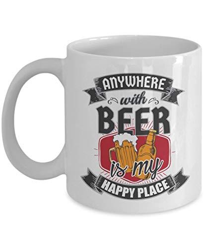 N\A Anywhere with Beer is My Happy Place Taza de Regalo Divertida de café y té para un Amante y Bebedor de Cerveza