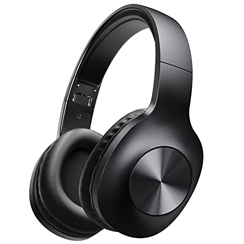 Stiive Bluetooth Headphones Over Ear, 100 Hours Playtime Wireless Headphones with Hi-Fi & Deep Bass, Soft Ear Pads & Foldable Wired/Wireless Headset with Built-in Mic for Home Office Black