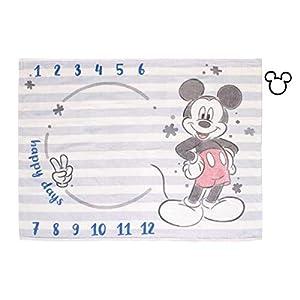 Disney Mickey Mouse Light Blue, Red & White Super Soft Milestone Baby Blanket, Light Blue, White, Red, Navy