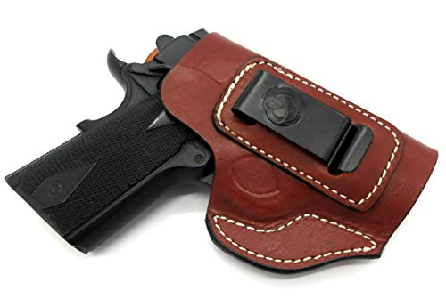"""Right Hand IWB AIWB Inside Pants Clip-On Concealment Holster in Brown Leather for 3"""" Nonrail 1911 SPRINGFIELD ARMORY EMP, MICRO COMPACT 45, COLT DEFENDER, NEW AGENT, KIMBER UC II, ULTRA CDP II"""