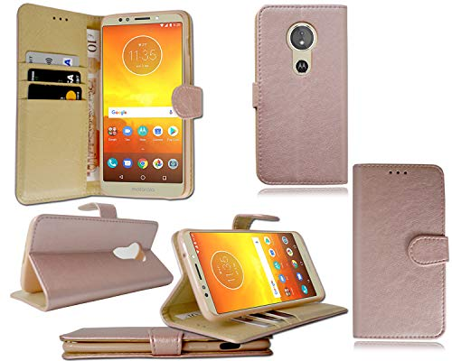 PIXFAB - Funda Tipo Cartera para Motorola Moto E5 XT1944 (Piel, Tarjetero, Protector de Pantalla), Piel sintética, Cartera de Oro Rosa, Moto E5 XT1944 & G6 Play XT1922
