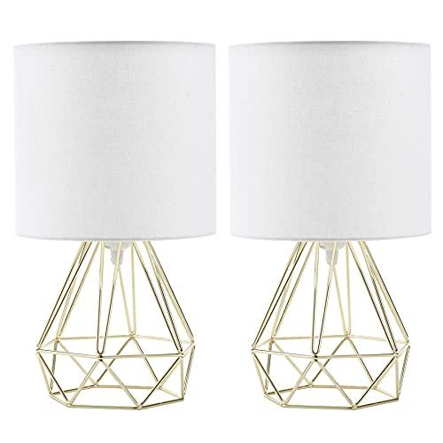 VONLUCE 2PCS Lámpara de Mesita de Noche en Forma de Diamante Lámpara de Mesa Moderna para Salón y Dormitorio Lámpara Luz de Noche Color Dorado
