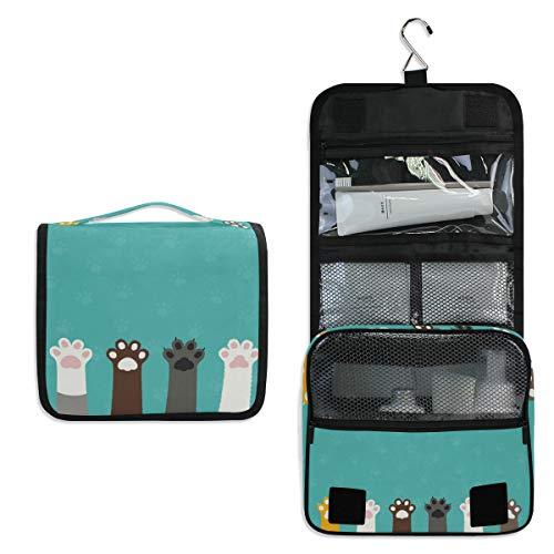 CPYang Neceser colgante con diseño de huellas de animales, gato, perro, bolsa de cosméticos portátil para mujeres y hombres