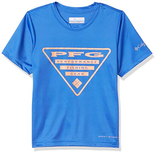 Columbia Kids & Baby Big Boys' PFG Printed Logo Graphic Tee, Vivid Blue Triangle, Large