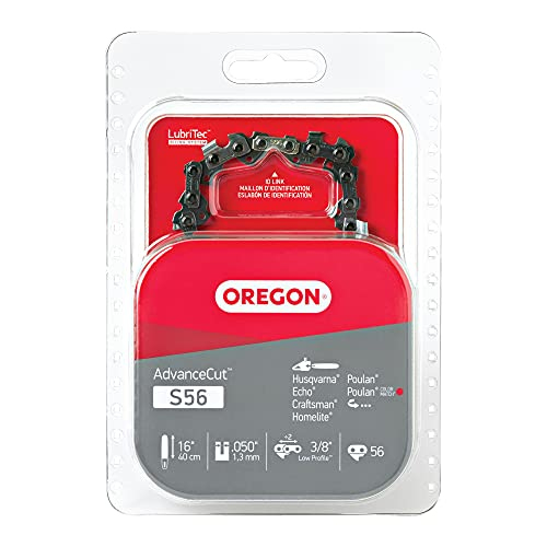 Oregon S56 AdvanceCut Chainsaw Chain for 16-Inch Bar – 56 Drive Links – low-kickback chain fits Husqvarna, Echo, Poulan, Craftsman and more