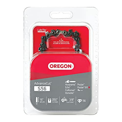 Oregon S56 AdvanceCut Chainsaw Chain for 16-Inch Bar -56 Drive Links – low-kickback chain fits Makita, Echo, Husqvarna and more