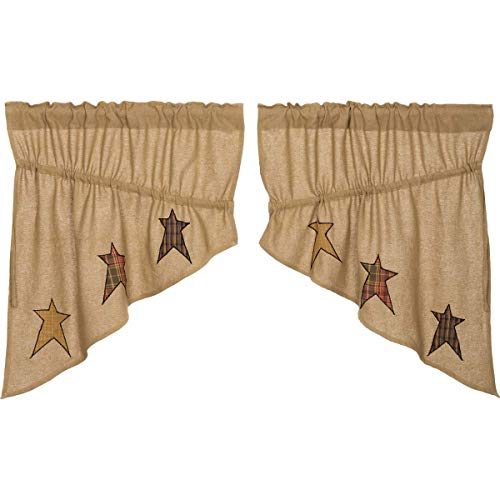 VHC Brands Stratton Burlap Applique Star Prairie Swag Set of 2 36x36x18 Country Curtains, Tan