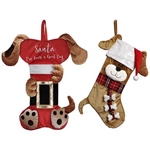 Valery Madelyn Calze Natale da Appendere Tradizionale Rosso-Marrone da 18 Pollici con Cartellino del Nome e Disegno del Cane, a Tema con Gonna ad Albero (Non Inclusa)