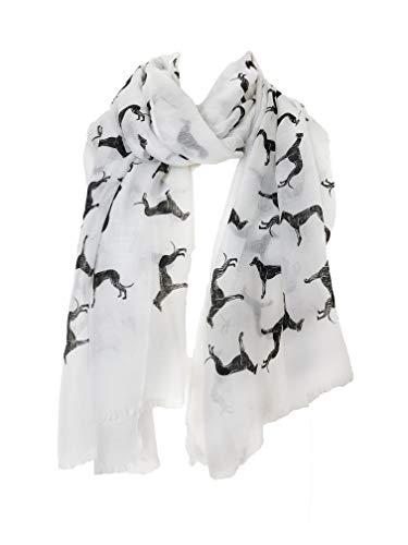 Weiß mit schwarzen großen Windhund Schal mit ausgefranste Rand(White with black BIG greyhound scarf with frayed edge)