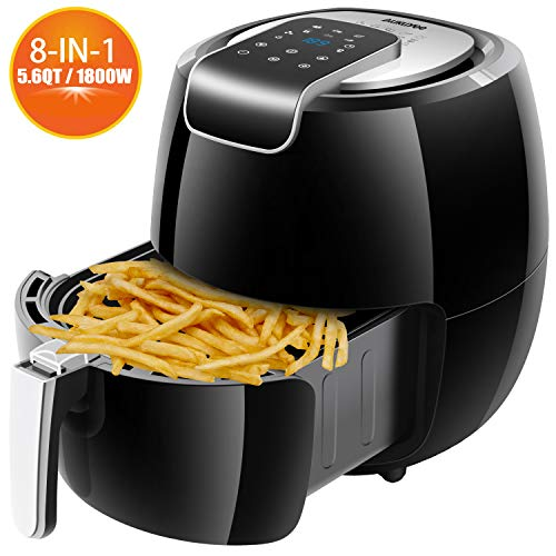 AUKUYEE Air Fryer Oil Less Cooker with Touch Screen Control, Dishwasher Safe, Recipes, 5.6QT/1800W for Fast, Healthy Cooking(Black) XL