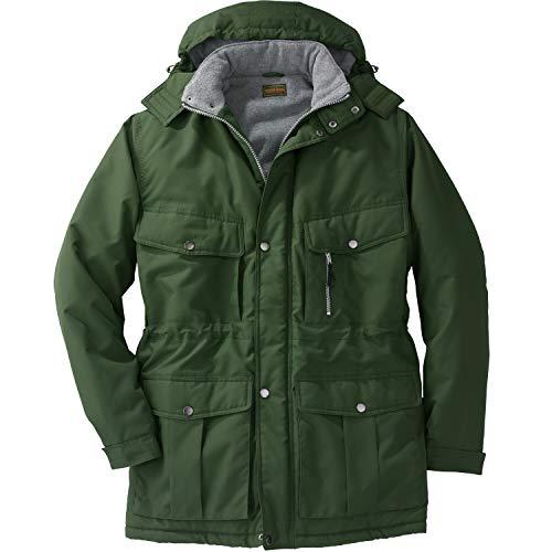 Boulder Creek by Kingsize Men's Big & Tall Fleece-Lined Parka with Detachable Hood and 6 Pockets - Big - 4XL, Olive Coat