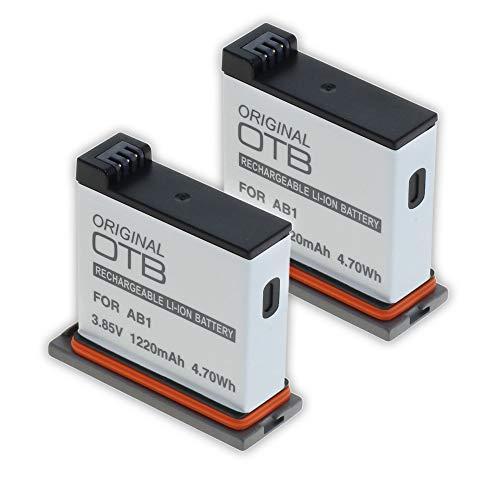 2X Akku für DJI Osmo Action Kamera (CP.OS.00000020.01) Ersatzakku kompatibel mit AB1, P01, PT1 Li-Ion inkl. 2X Schutzbox Aufbewahrungsbox für Akku und MicroSD-Karte von OTB Powered by Mertrado