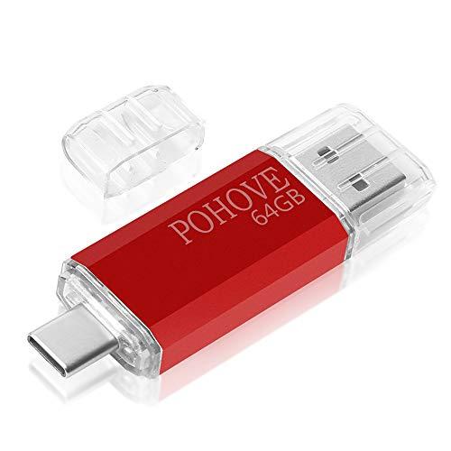 POHOVE Chiavetta USB 64 GB, 2 in 1 Tipo C Penna USB 64 Giga USB C Pendrive 64gb Type C USB 2.0 Flash Drive per PC/New Macbook/Tablet/Smartphone Huawei, Xiaomi, Oneplus Etc (Rosso)