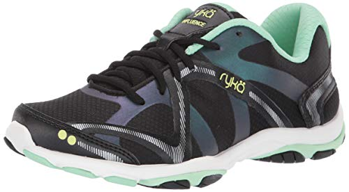 Ryka Women's Influence Cross Training Shoe, Black/Green, 9.5 W US