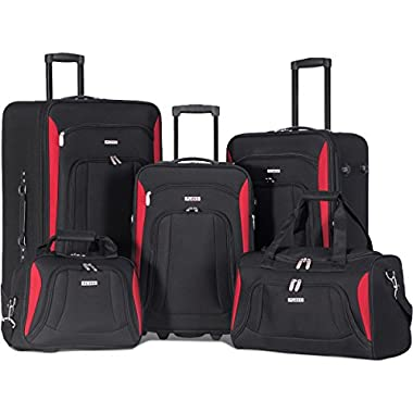 Merax Newest 5 Piece Set Expandable Rolling Suitcase Softshell Deluxe Luggage Set (Black.)
