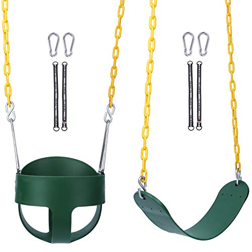 RedSwing High Back Full Bucket Swing with Heavy Duty Swing Seat Combo Pack (Triangle and Chain Dip), Free Carabiners and Tree Straps Included
