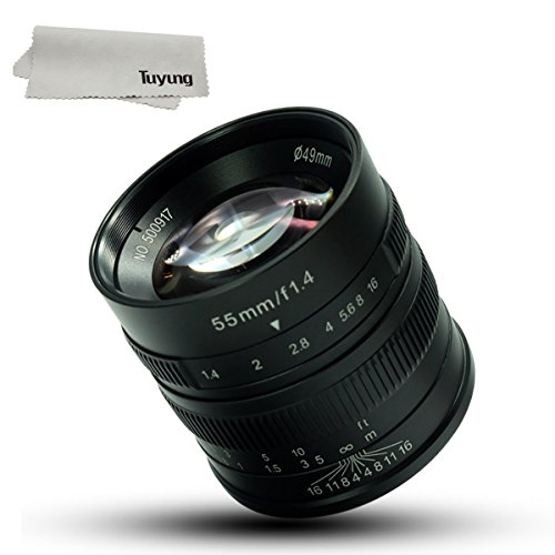 7artisans 55mm F1.4 Large Aperture Portrait Manual Focus Micro Camera Lens Fit for Fuji Cameras: X-A1, X-A2, X-at, X-M1, XM2, X-T1, X-T2, X-T10, X-Pro1, X-E1, X-E2 and TUYUNG Cloth