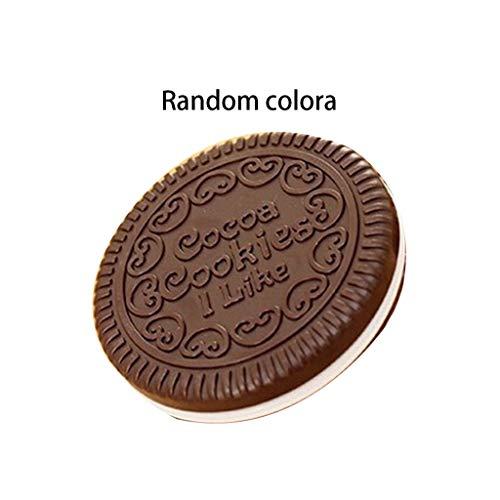 VieskyWomen Meisjes Chocolade Cookie Mini Pocket Spiegel Met Kam Prinses Draagbare Sandwich Biscuit Vorm Make-up Cosmetische Vouwspiegel