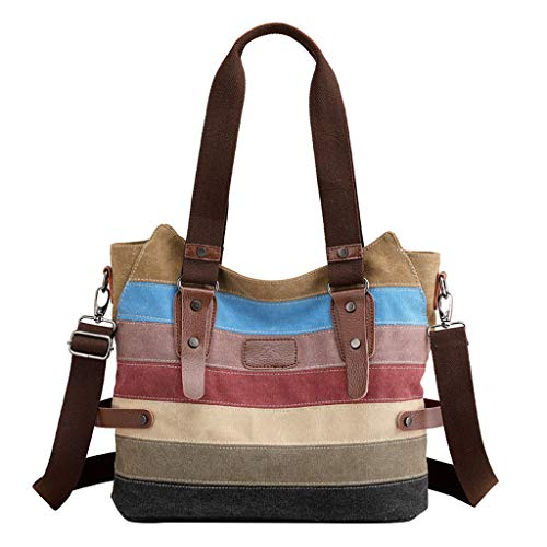 YWYW Ladies Shoulder Bag Retro Rucksack Contrast Color Stitching Crossbody Bag Fashion Stylish Casual Handbag Sports Travel Backpack for Commuting Travel