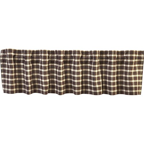 VHC Brands Rustic & Lodge Farmhouse Kitchen Window Rory Brown Curtain, Valance 16x72