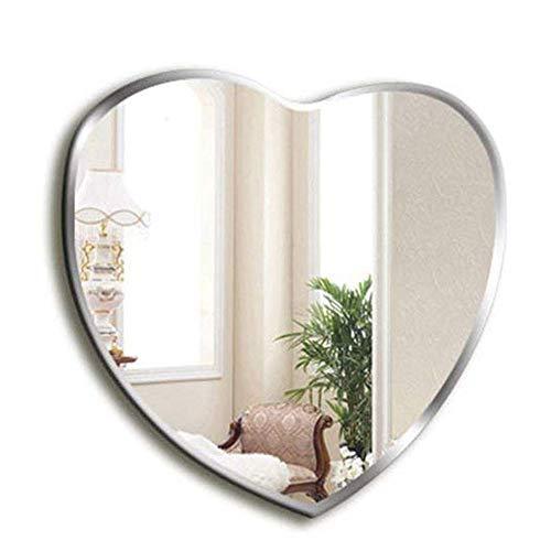 Espejo de Pared sin Marco en Forma de corazón, Cuarto de baño Dormitorio Biselado Espejos de tocador, Sala de Las niñas Moderna Espejo de vanidad, Elegante y único, 60 * 64 cm