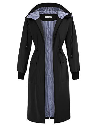 JASAMBAC Women's Trench Coats Raincoats Waterproof Lightweight Fall Rain Jacket with Hood Black XL