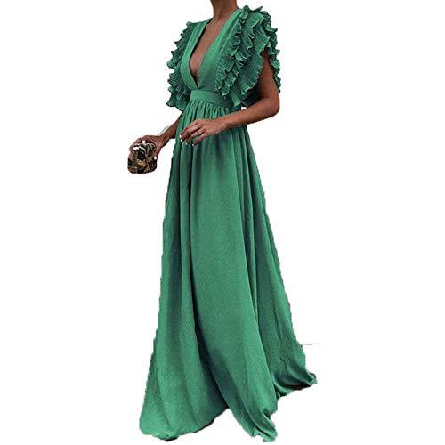 Toimothcn Women Vintage Fly Sleeve Backless Deep V-Neck Long Wedding Evening Party Maxi Dress Plus Size (Green,L)