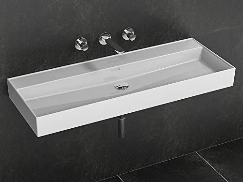 Aqua Bagno wastafel, 120 cm, keramische wastafel zonder kraangat hoekig